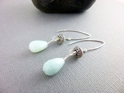 Amazonite & Sterling Silver Earrings, Throat and Heart Chakras