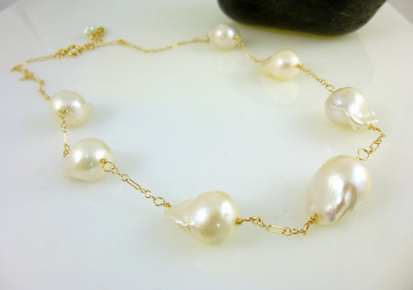 Flameball Baroque Pearl Chakra Necklace, 14K Gold Fill