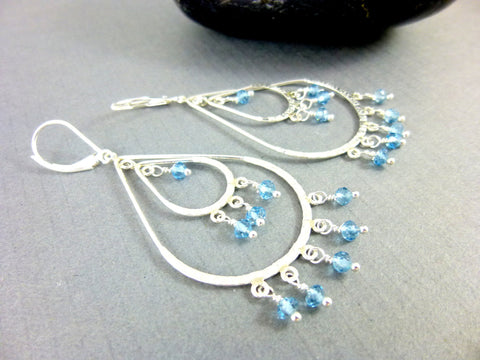 Blue Topaz Chandelier Earrings, Hammered Sterling Silver - Earth Energy Gemstones