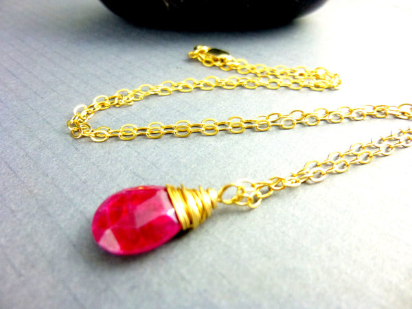 Ruby Pendant Necklace, Heart Chakra - Earth Energy Gemstones
