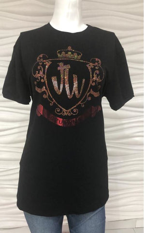 JW GOLD AND RED CREST SPARKLE TEES
