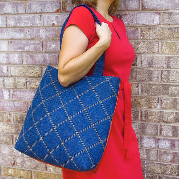 the anjelica 517 tote with a model to show it's size