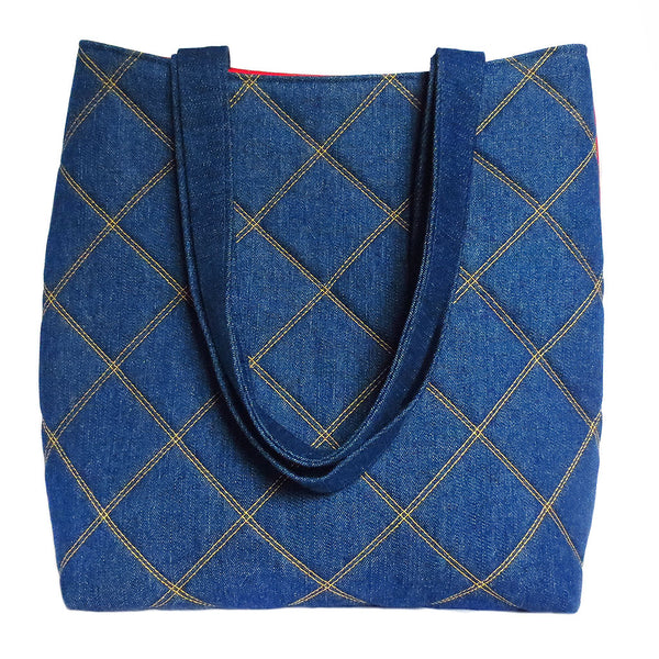 denim totebag quilted with gold stitching from Holland Cox