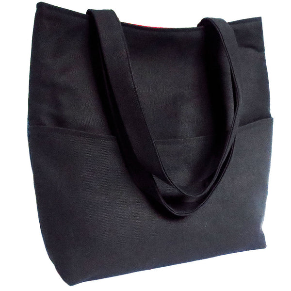 back of the 517 tote from Holland Cox - solid black with double straps