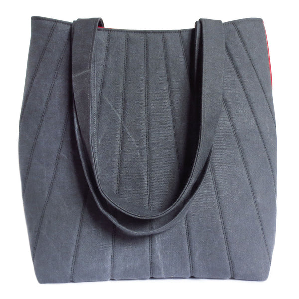the simone 517 tote from Holland Cox - gray denim and red vinyl