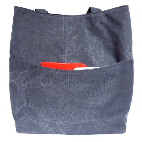 "back pocket of the 517 tote is 8"" deep, big enough for your mini ipad and full sized moleskeine notebook"