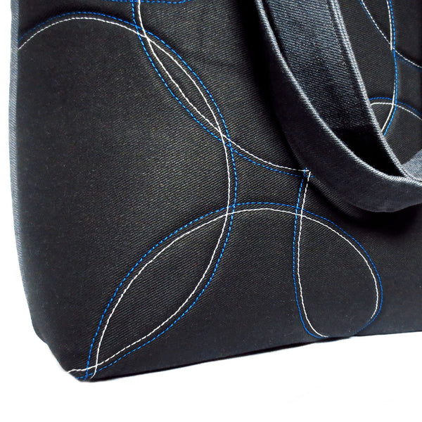 detail of the quilted overlapping circles in blue and gray stitching on black denim