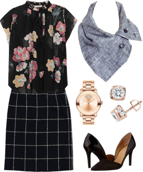 wear the aida scarf to the office, with a floral blouse and a black and white skirt