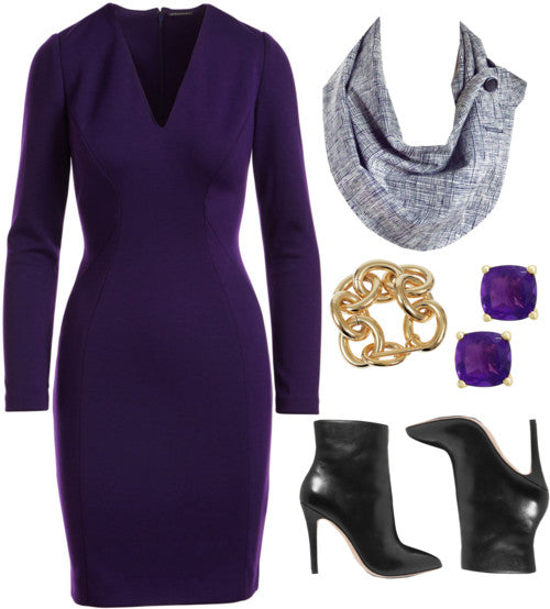 the aida button scarf with a dark purple long sleeved dress, black boots, and gold jewelry