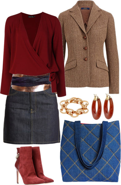 the jezebel wrap belt with a denim skirt, burgundy blouse, tweed blazer, and a Holland Cox tote bag