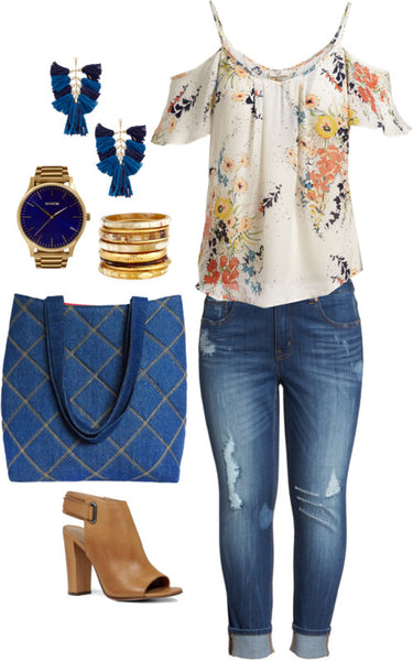 the anjelica tote with distressed jeans and a floral cold-shoulder blouse