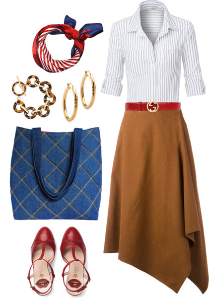 outfit idea for the anjelica 517 tote featuring a suede skirt, striped blouse, and gold jewelry