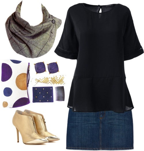 the anjelica button scarf with a denim skirt, black top, gold heels, and purple accessories