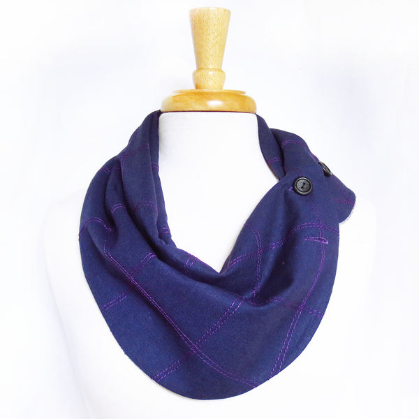 purple linen button scarf from Holland Cox with windowpane check stitched in purple thread