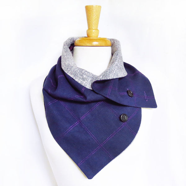 alternative way to wear your Holland Cox button scarf, with the curved edge against your neck, and only one button done