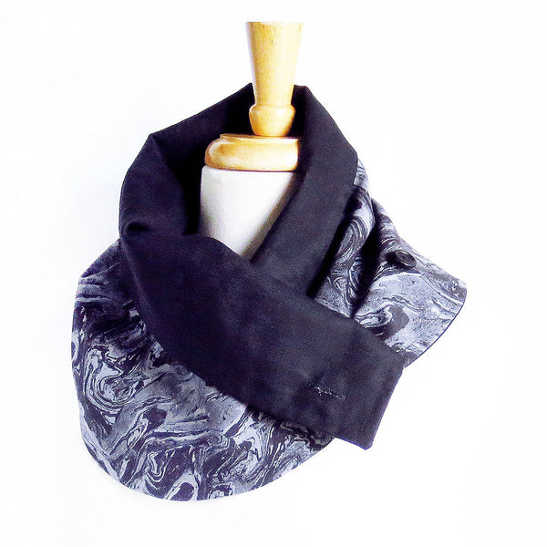 black marble button scarf