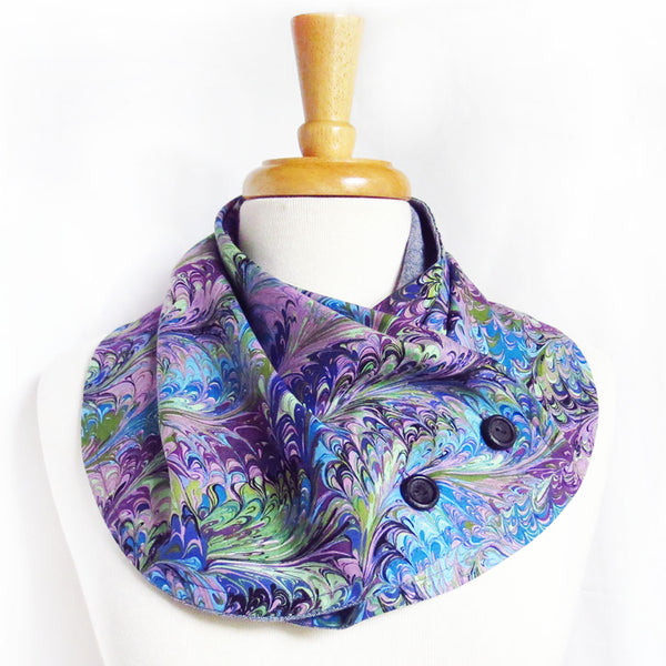 the natalie autumn button scarf, purple book marble print with two hand painted buttons in black