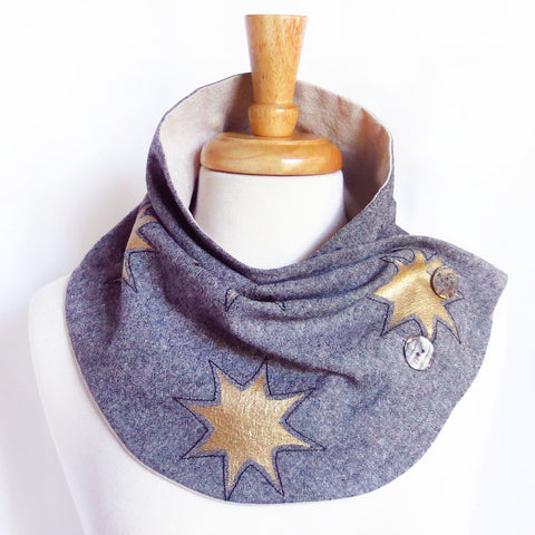 fabric button scarf with gold stars painted on black essex linen, from Holland Cox