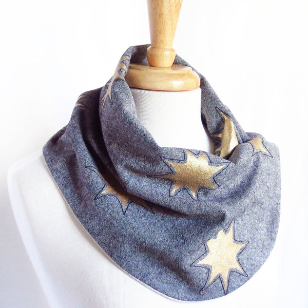 fabric button scarf with gold stars painted on black essex linen