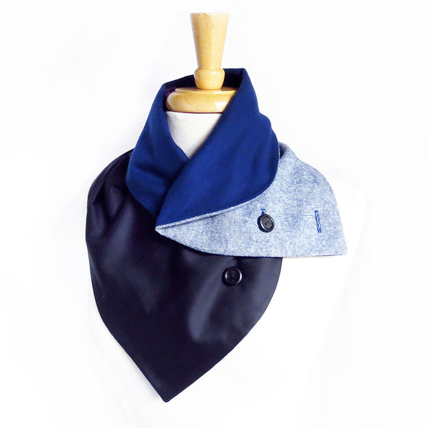 blue trinity button scarf