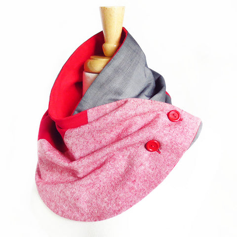 Modern patchwork fabric button scarf in red and gray. Lined in red cotton flannel with two hand painted buttons in red.