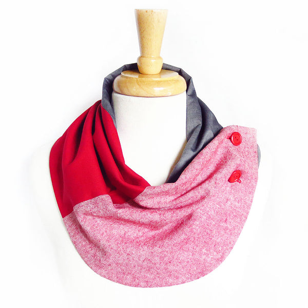red trinity button scarf