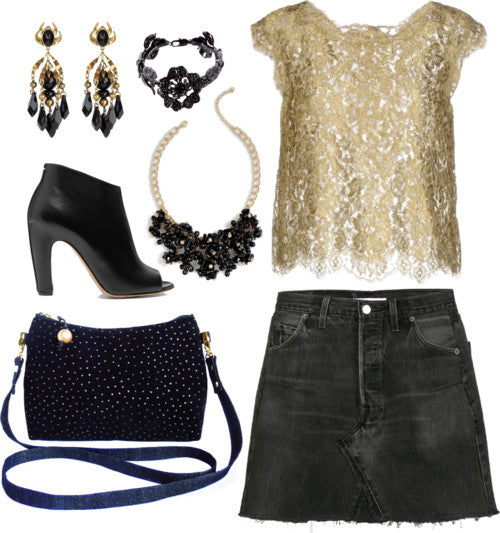 outfit idea for the calliope crossbody bag, featuring a mini skirt, lacy top, and black and gold jewelry