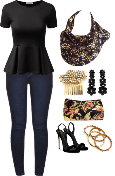 outfit idea for the carla scarf: skinny jeans, black peplum top, plus black and gold accessories and the phoenix small perfect pouch.