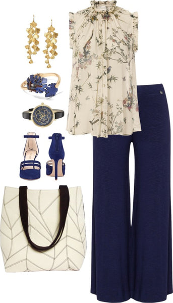 the cassandra 517 tote with navy pinstripe trousers and a floral blouse
