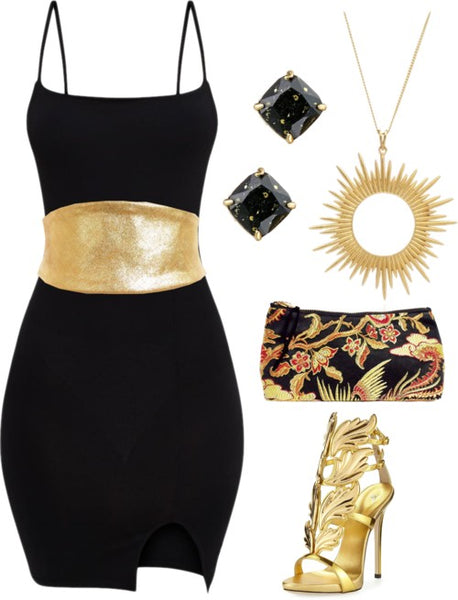 the cassandra wrap belt with a little black dress and gold accessories