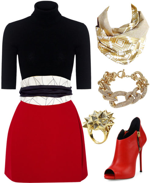 the naomi button scarf with a black turtle neck, red mini skirt, and Holland Cox wrap belt