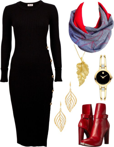 the cassandra infinity scarf with a black dress, gold jewelry, and red boots