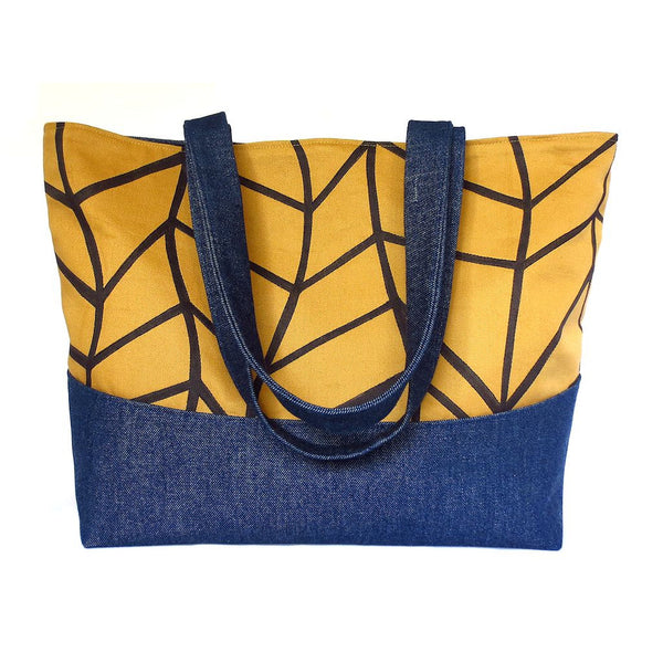 Denim tote bag featuring our signature chevron wave motif, hand drawn in black ink on organic cotton twill