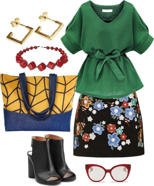 an outfit idea for the cassandra tote bag - an embroidered mini skirt, green top, and black boots
