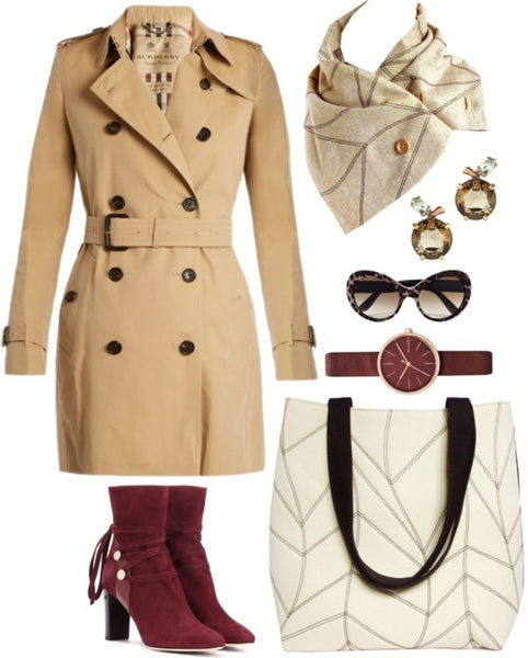 outfit idea for the cassandra scarf: a classic trench coat, the cassandra 517 tote, and red suede boots.