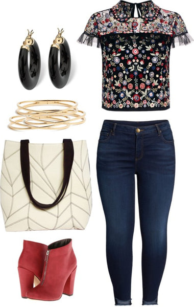 an outfit featuring the cassandra 517 tote, with jeans, an embroidered top, red boots and black and gold jewelry