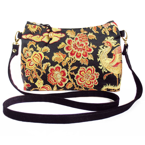 crossbody bag in black, gold, and red satin damask and black denim