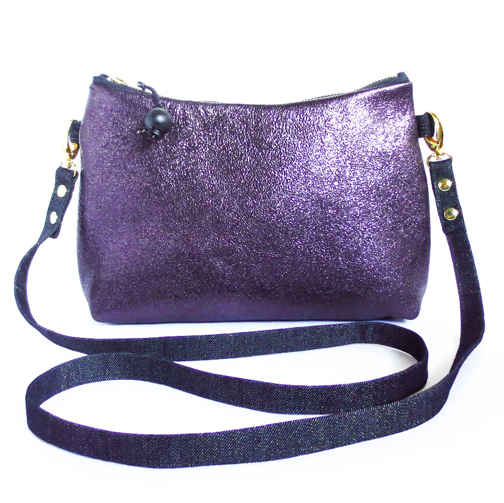 crossbody bag in purple metallic leather and dark blue metallic denim from Holland Cox