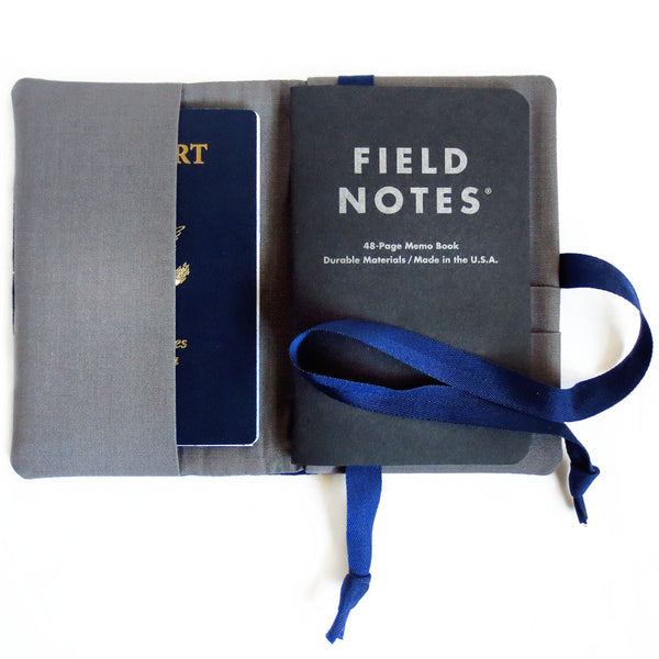front pocket of field notes cover can hold a backup notebook or your passport