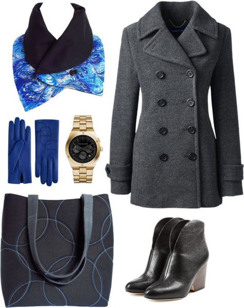 outfit idea for the fizgerald scarf: gray pea coat, black boots, royal blue gloves, and the sofia 17 tote