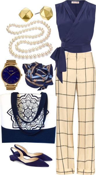 the gloria tote styled with cream windowpane check trousers, a navy blouse, pearl jewelry, and a silk scarf