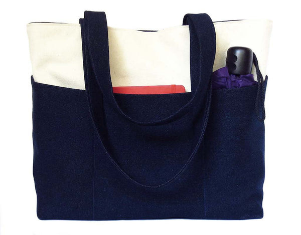 back of the gloria tote bag, in dark blue denim and natural canvas