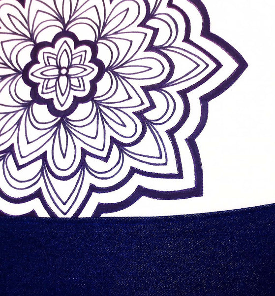 close up of the gloria tote bag from Holland Cox, featuring a hand drawn mandala motif in black ink on fabric