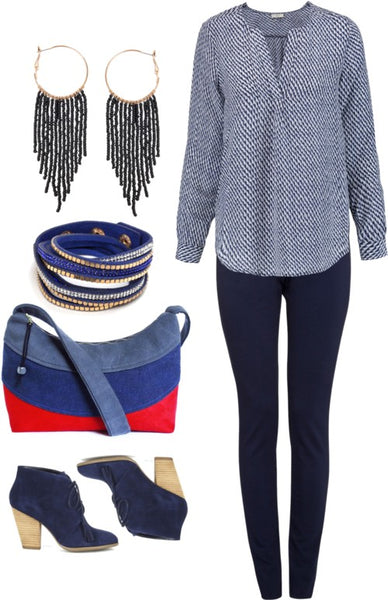 outfit idea for the holland everyday bag, featuring leggings, a chambray top, and lapiz and gold jewelry