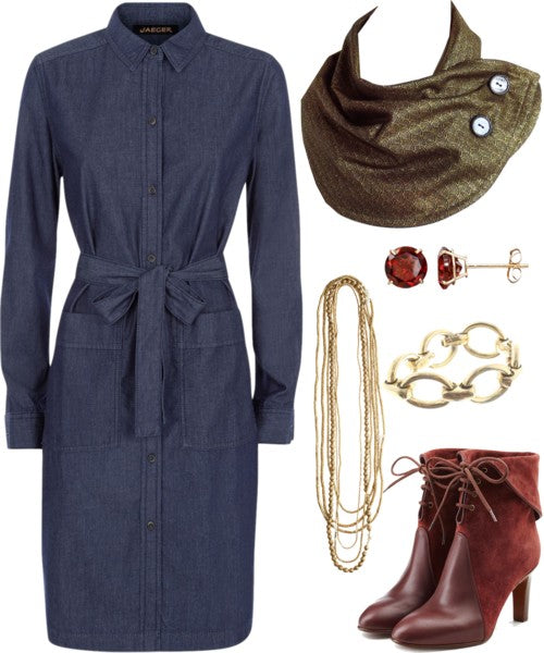 the katherine button scarf with a long sleeve denim dress, gold jewelry, and burgundy suede boots