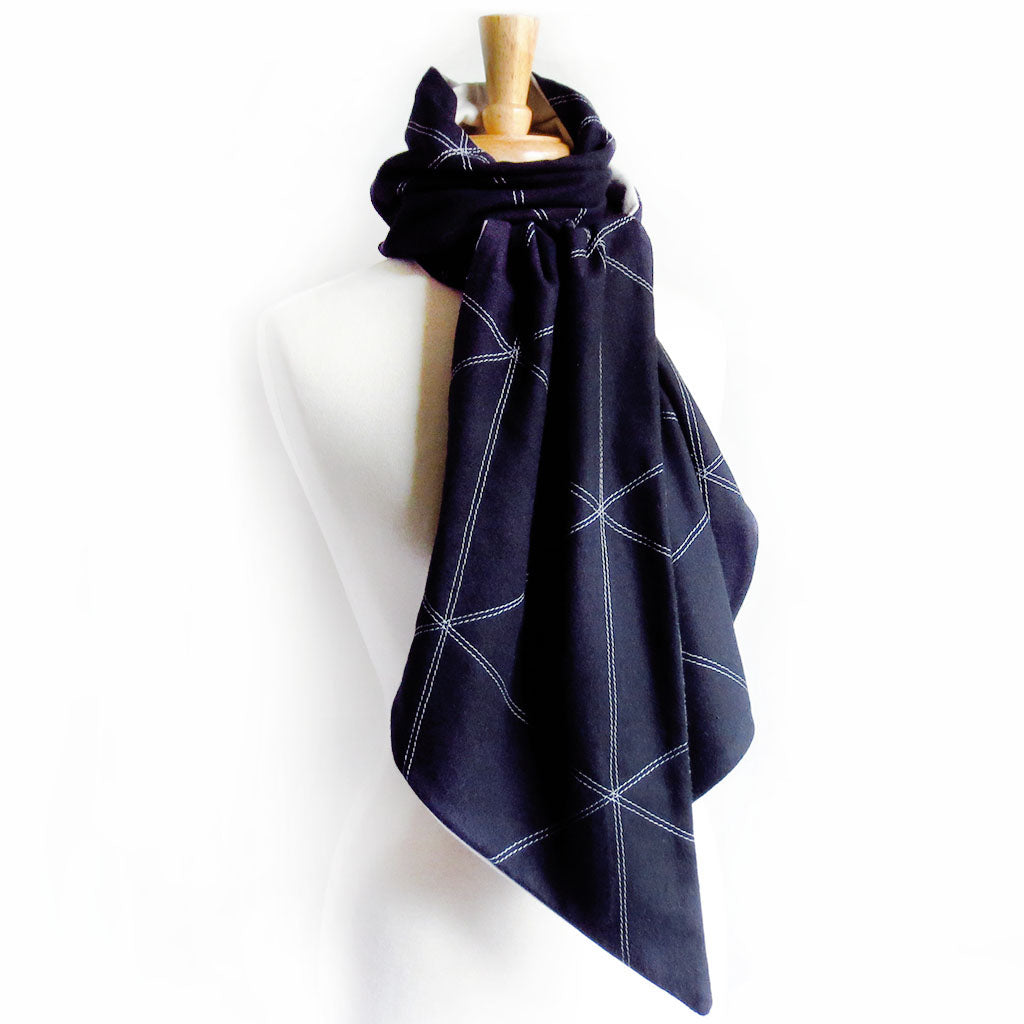 black and gray flannel scarf for men, stitched with triangle motif