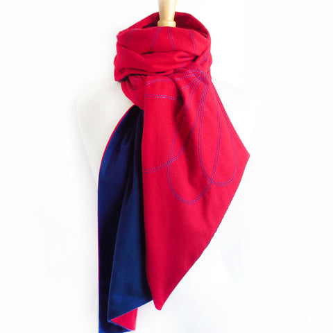 red and blue flannel scarf stitched with abstract petal motif