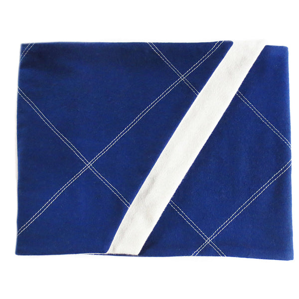 blue and gray men's flannel scarf is folded to show off stitched design and angled edges