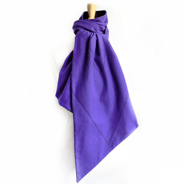 purple and black flannel scarf with V motif stitched in black