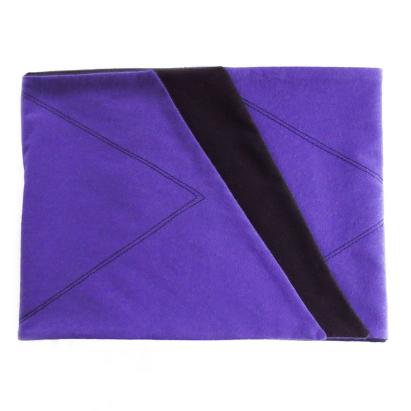 black and purple flannel scarf folded to show off angled edges
